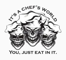 Funny Chef Skulls: It's a Chef's World Kids Clothes