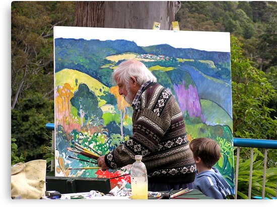 Artist at work with assistant ......John Rigby.  by Virginia McGowan