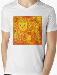 Patterned Lion Mens V-Neck T-Shirt
