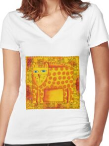 Patterned Leopard Women's Fitted V-Neck T-Shirt