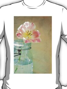Vintage Inspired Pink and Yellow Tulip in Blue Jar T-Shirt
