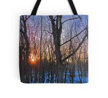 Sunrise Behind The Trees Digital Painting From Photograph Tote Bag