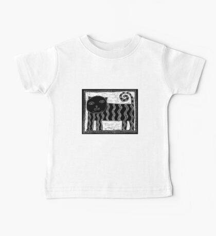 Black and White Stripey Cat Baby Tee