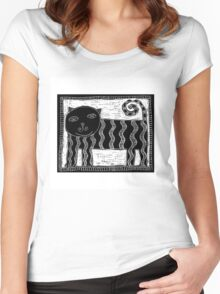 Black and White Stripey Cat Women's Fitted Scoop T-Shirt