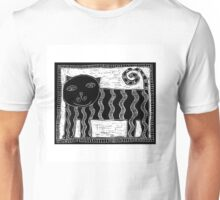 Black and White Stripey Cat Unisex T-Shirt