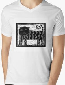 Black and White Stripey Cat Mens V-Neck T-Shirt