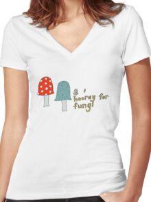 Fungi fun Women's Fitted V-Neck T-Shirt