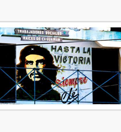 Artwork of Che on Trabajadores Sociales building, Vinales, Cuba Sticker