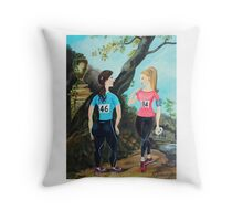 Running Girls Stop to Rest Throw Pillow