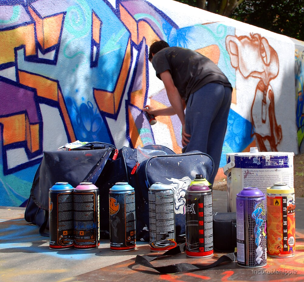 Graffiti Artist at Work with Tools by incurablehippie