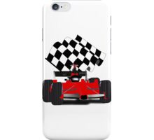 Red  Race Car with Checkered Flag iPhone Case/Skin