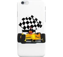 Yellow Race Car with Checkered Flag iPhone Case/Skin