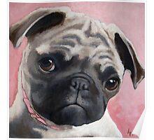 Bailey - Pug dog portrait animal painting Poster
