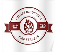 Vintage Future Industries Fire Ferrets Logo Color Poster