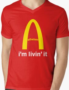 LIVIN ATHEISM by Tai's Tees Mens V-Neck T-Shirt