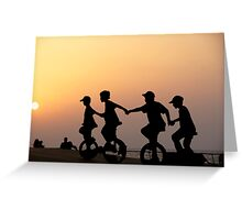 Children on one wheel bicycle Greeting Card