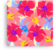 pattern with hibiscus  Canvas Print
