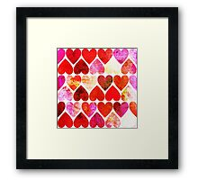 Mod Red Grungy Hearts Design Framed Print