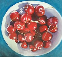 Bowl of ripe, red cherries by soniamattson