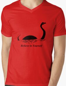 Believe in Yourself - The Loch Ness Monster (Black) Mens V-Neck T-Shirt