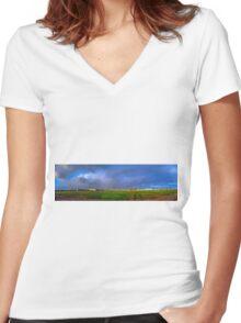 CLOUDS PANORAMA Women's Fitted V-Neck T-Shirt