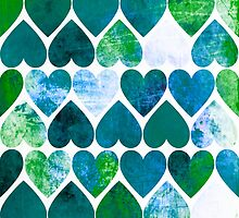 Mod Green & Blue Grungy Hearts Design by Groovyfinds