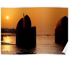 Thames Barrier Sunset Poster