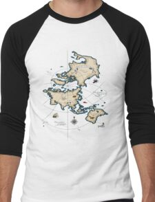 Mercator Map Men's Baseball ¾ T-Shirt