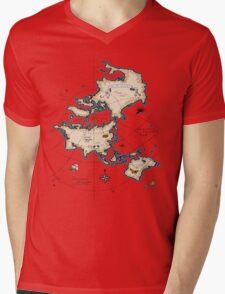 Mercator Map Mens V-Neck T-Shirt