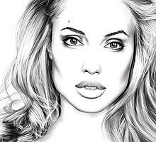 Angelina Jolie minimalist art portrait - digital painting by Thubakabra
