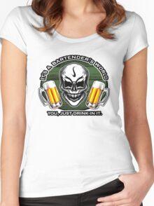 Bartender Skull 6: It's a Bartender's World Women's Fitted Scoop T-Shirt