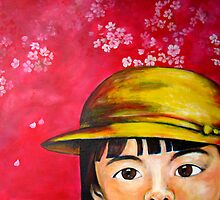 Cherry Blossoms and a Yellow Hat by Midori Furze