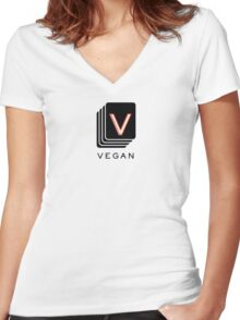Serial Vegan  Women's Fitted V-Neck T-Shirt