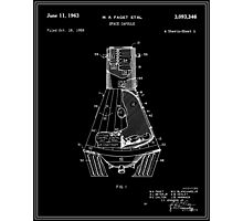 Space Capsule Patent - Black Photographic Print