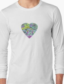 Color Burst Heart Long Sleeve T-Shirt