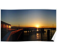 Sunset At The Wharf Poster