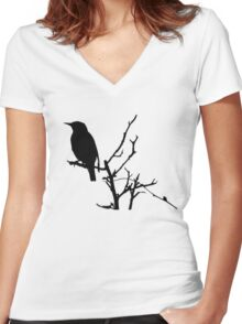 Little Birdy - Black Women's Fitted V-Neck T-Shirt
