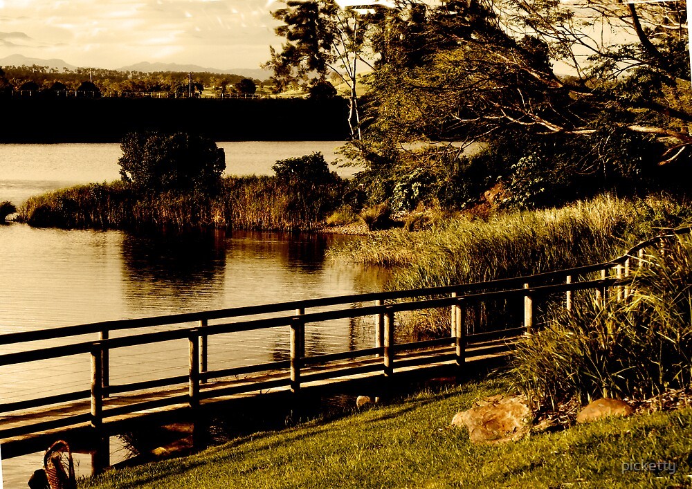 old fashioned postcard- manning river by picketty