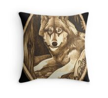 Wolf On A Basswood Slice Throw Pillow