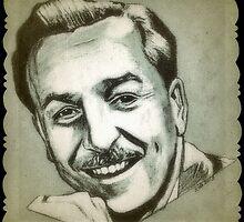 Walt Disney portrait drawing by RobCrandall