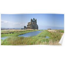 Whitby Abbey beneath summer sky Poster