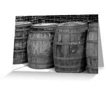 WOODEN BARRELS IN A ROW Greeting Card