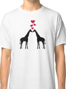 Giraffes red hearts love Classic T-Shirt