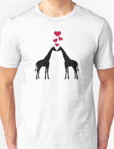 Giraffes red hearts love Unisex T-Shirt