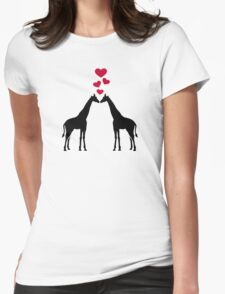 Giraffes red hearts love Womens Fitted T-Shirt