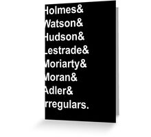 Sherlock Holmes Character List (White Text) Greeting Card
