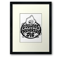 Goonies Never Say Die T-Shirt Framed Print
