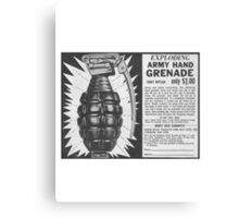 EXPLODING ARMY HAND GRENADE Canvas Print
