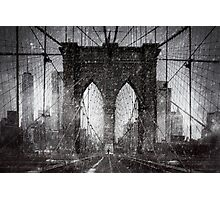 Brooklyn Bridge Snow Day Photographic Print