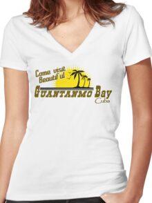 COME VISIT BEAUTIFUL GUANTANAMO BAY CUBA Funny Geek Nerd Women's Fitted V-Neck T-Shirt